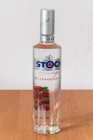 Deblin, Poland - November 9, 2019: Stock prestige cranberry flavored vodka.