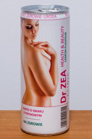 Pruszcz Gdanski, Poland - November 19, 2019: Dr ZEA clinic health & beauty lemon flavour drink.