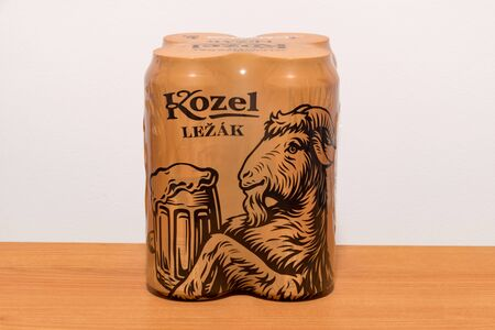 Pruszcz Gdanski, Poland - November 28, 2019: 4 pack of aluminium cans of Kozel Lezak lager beer.