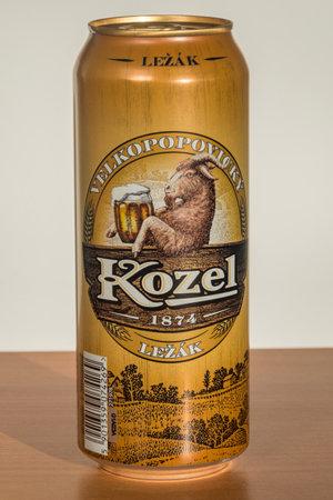 Pruszcz Gdanski, Poland - November 28, 2019: Cans of Kozel Lezak lager beer.