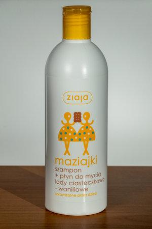 Pruszcz Gdanski, Poland - December 3, 2019: Ziaja maziajki shampoo + washing liquid with the scent of cookie-vanilla ice cream. Редакционное
