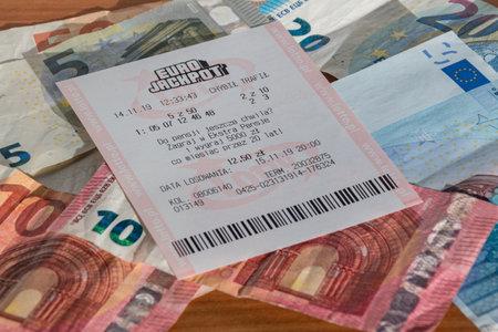 Pruszcz Gdanski, Poland - December 3, 2019: Eurojackpot ticket on Euro banknotes.