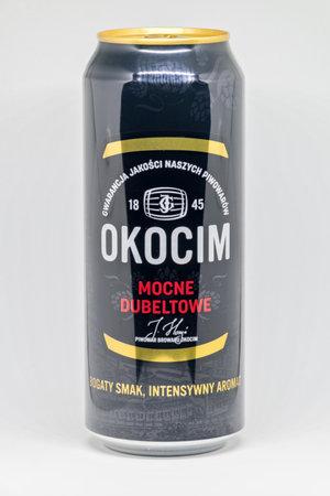 Pruszcz Gdanski, Poland - November 25, 2019: Okocim mocne dubeltowe beer. Редакционное