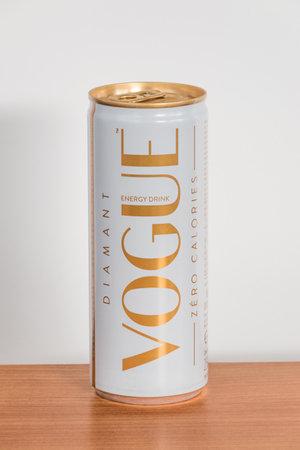 Pruszcz Gdanski, Poland - December 7, 2019: Diamant Vogue zero calories energy drink.