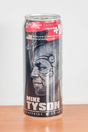 Pruszcz Gdanski, Poland - December 7, 2019: Can of Black energy drink. Aluminium can with Mike Tyson.