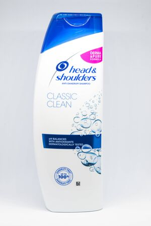 Pruszcz Gdanski, Poland - December 8, 2019: Head & Shoulders anit-dandruff Classic clean shampoo on white background.