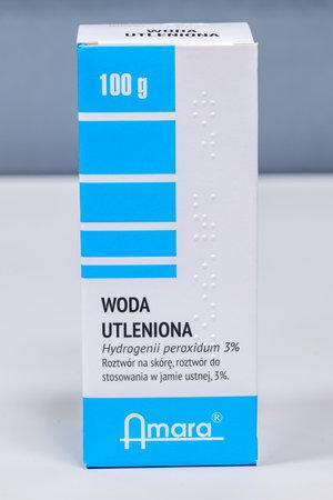 Pruszcz Gdanski, Poland - December 22, 2019: Amara hydrogen peroxide 3%.