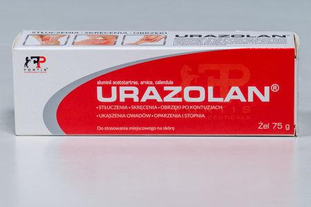 Pruszcz Gdanski, Poland - December 22, 2019: Fortis Pharmaceuticals Urazolan gel. Gel for bruises, sprains and swelling.