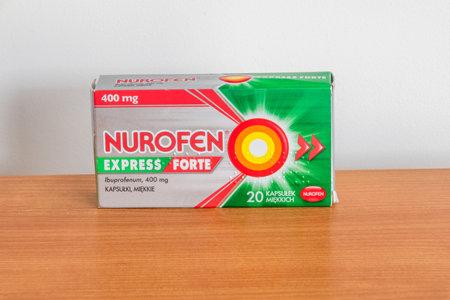 Pruszcz Gdanski, Poland - December 11, 2019: Nurofen express forte. Nurofen is an Ibuprofen based tablet used for relieving pain.