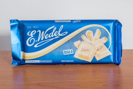 Pruszcz Gdanski, Poland - December 11, 2019: Bar of white chocolate E. Wedel.