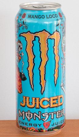 Pruszcz Gdanski, Poland - December 11, 2019: Monster Juiced Mango Loco energy drink.