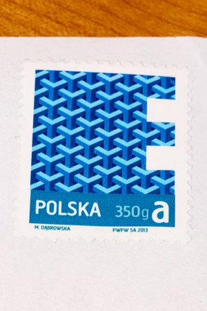 Pruszcz Gdanski, Poland - December 14, 2019: Polish postage stamp for letters up to 350 grams.