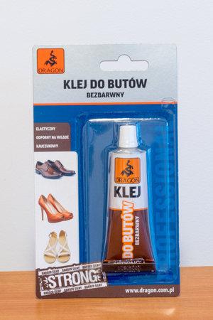 Pruszcz Gdanski, Poland - December 16, 2019: Dragon colorless shoe adhesive. Редакционное