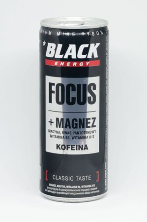 Pruszcz Gdanski, Poland - September 24, 2019: Black Focus energy drink with magnesium and caffeine. Редакционное