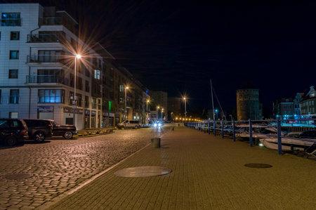 Gdansk, Poland - September 20, 2019: Szafarnia street in old town of Gdansk at night.