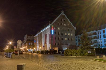 Gdansk, Poland - September 20, 2019: Five stars hotel Gdansk at night.