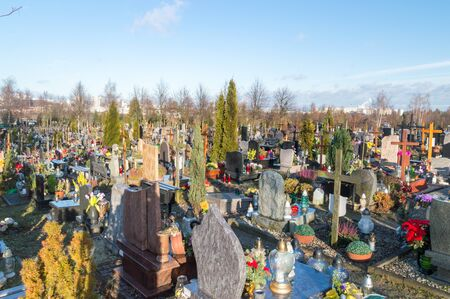 Gdansk, Poland - September 24, 2019: Graves at Gdansk Lostowice cemetery.