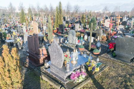 Gdansk, Poland - September 24, 2019: View of graves at Gdansk Lostowice cemetery.