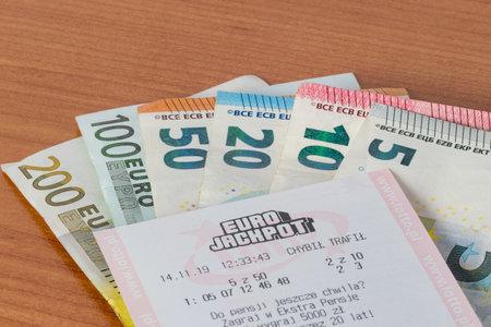 Pruszcz Gdanski, Poland - November 26, 2019: Eurojackpot ticket on euro banknotes.