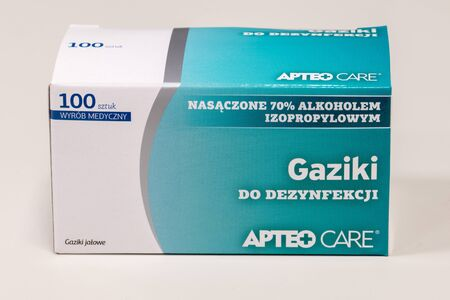 Pruszcz Gdanski, Poland - November 25, 2019: Apteo Care medical disinfectant swabs. Редакционное