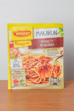 Pruszcz Gdanski, Poland - November 25, 2019: Bag of Winiary instant spaghetti bolognese.