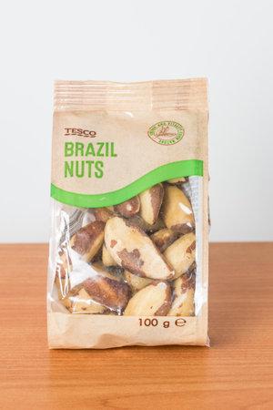 Pruszcz Gdanski, Poland - November 26, 2019: Bag of Tesco brazil nuts.