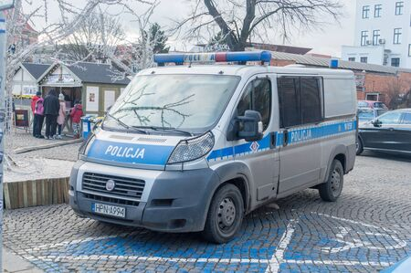 Gdansk, Poland - December 24, 2019: Police car at Gdansk Christmas Fair.