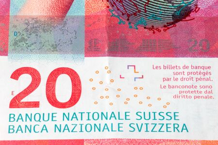 Detail of 20 Swiss franc, CHF paper banknote.
