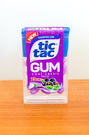 Pruszcz Gdanski, Poland - February 26, 2020: Tic Tac sugarfree gum cool cassis flavor.
