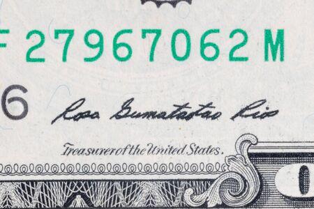 Treasurer of the United States Rosa Gumataotao Rios's signature on one US dollar bill. 스톡 콘텐츠 - 142042428