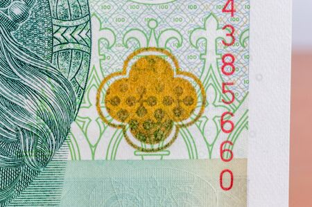 Rosette that changes color (optically variable paint) on 100 banknote.