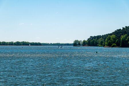 Sunny view on Mikolajskie lake.