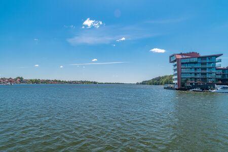 Beautiful view on Mikolajskie lake in Mikolajki, Poland.