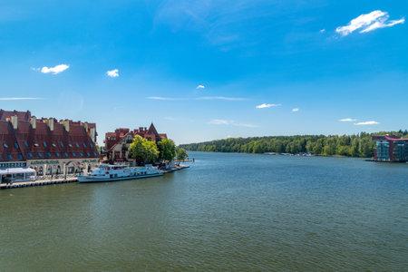 Mikolajki, Poland - June 1, 2020: Panoramic view of Mikolaki resort with Mikolajskie lake.