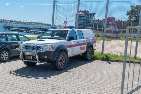 Mikolajki, Poland - June 1, 2020: Car of MOPR Masurian Volunteer Ambulance Service.