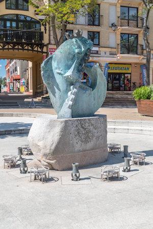 Mikolajki, Poland - June 1, 2020: King Sielaw (Fish King) Fountain.