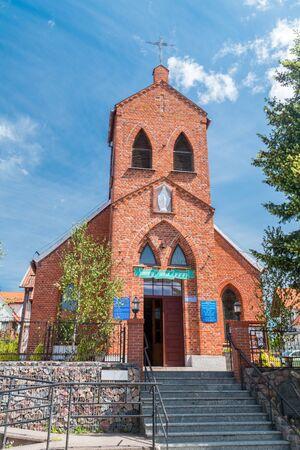 Roman catholic church of Our Lady of the Rosary in Mikolajki, Poland.