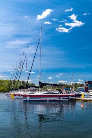 Mikolajki, Poland - June 1, 2020: Sailboats in Town Port in Mikołajki. Publikacyjne