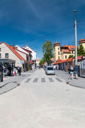 Mikolajki, Poland - June 1, 2020: Tourist street view in Mikolajki. Publikacyjne