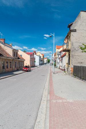 Mikolajki, Poland - June 1, 2020: Street view in Mikolajki.