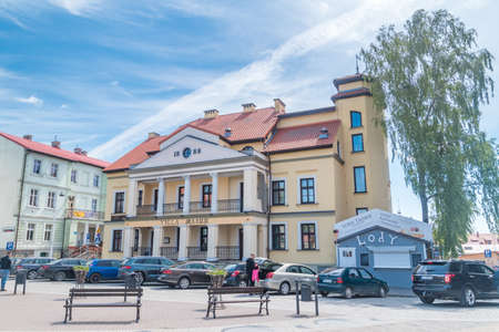 Mikolajki, Poland - June 1, 2020: Villa Mazur in city center of Mikolajki.