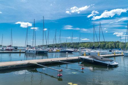 Mikolajki, Poland - June 1, 2020: Marina on Mikolajskie lake.