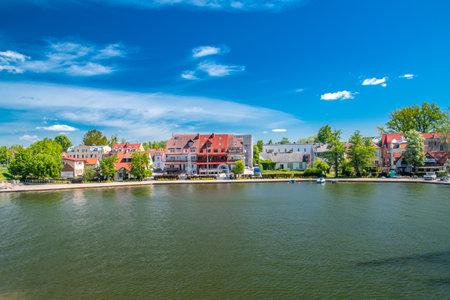 Mikolajki, Poland - June 1, 2020: Nice view on Mikolajki with Mikolajskie lake.