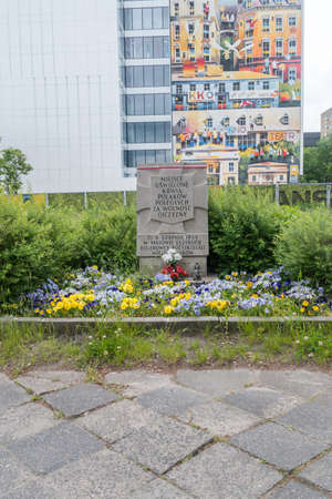 Warsaw, Poland - June 3, 2020: Place of mass execution of Poles by the Nazis on August 6, 1944. 에디토리얼