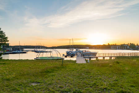 Panoramic view on Ukiel lake with marina at sunset time in Olsztyn, Poland. Archivio Fotografico