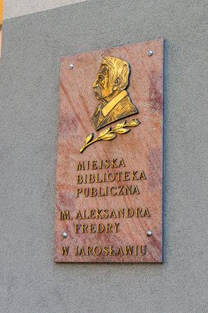 Jaroslaw, Poland - June 12, 2020: Information plaque of Municipal public library in Jaroslaw.
