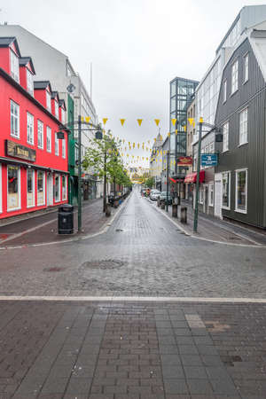 Reykjavik, Iceland - June 20, 2020: Reykjavik downtown at cloudy day.