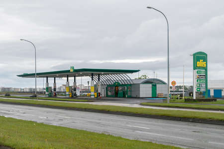 Reykjavik, Iceland - June 20, 2020: Olis gas station at cloudy day.