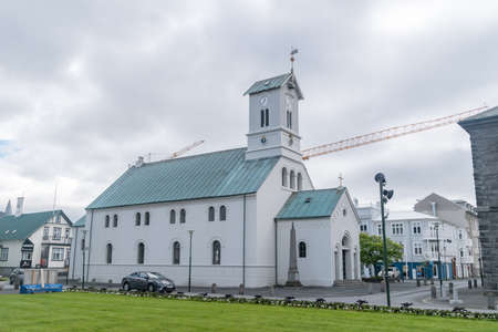 Reykjavik, Iceland - June 20, 2020: Reykjavik Cathedral, cathedral church, seat of the Bishop of Iceland and mother church of the Evangelical Lutheran Church of Iceland.