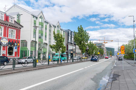 Reykjavik, Iceland - June 20, 2020: Laekjargata street in downtown Reykjavik and takes its name from the stream that once ran along the street.